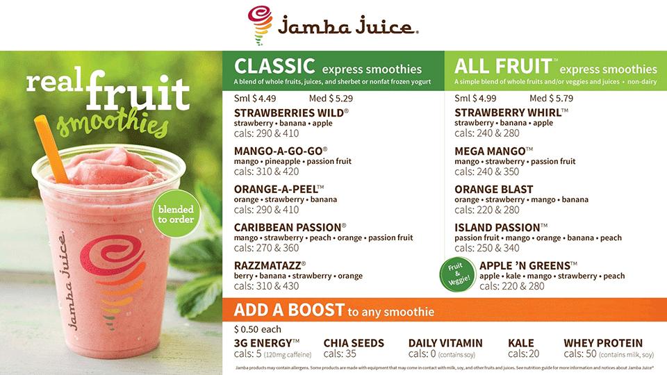 Fresh Place - Central Market - Jamba Juice Menu
